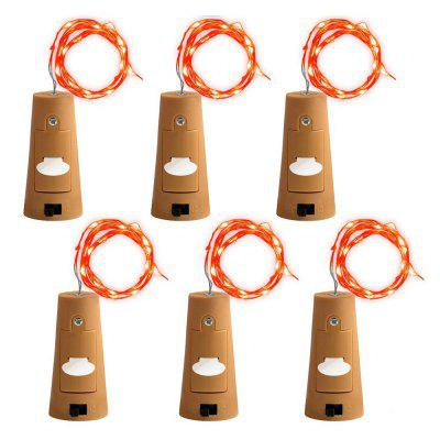 ZDM 6PCS 2M LED Wine Bottle Stopper Cork Copper Wire Multicolor Silver Line Lamp