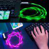 Power4 LED Light Visible Type-C to USB Flowing Round Cable - GREEN