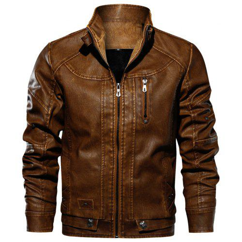 85bbed6ac QIQICHEN Men s Locomotive Leather Plus Size Jacket -  50.73 Free ...