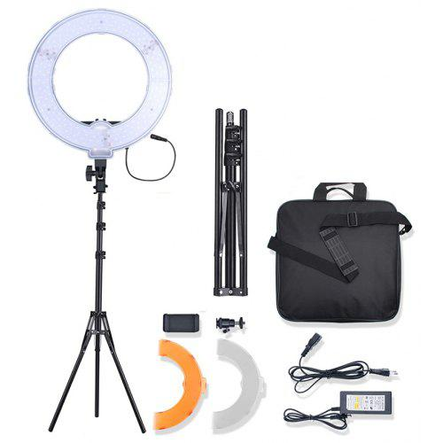 Bi-Color LED Ring Light Video Photography Camera Phone Fill Lamp with Stand - BLACK EU PLUG