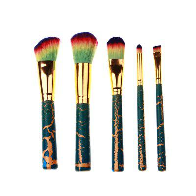High Quality 5 PCS Makeup Brush Set Wood Crackle Handle
