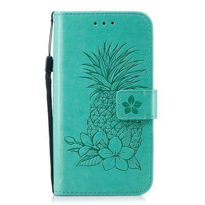 Embossing Pineapple Flower Flip Folio Wallet Case for Samsung Galaxy S6 Edge
