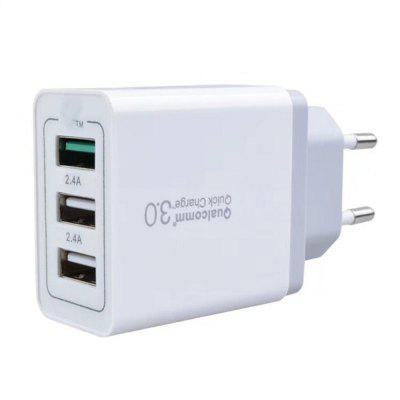 3 USB Fast Charger QC 3.0 Power Adapter EU Plug