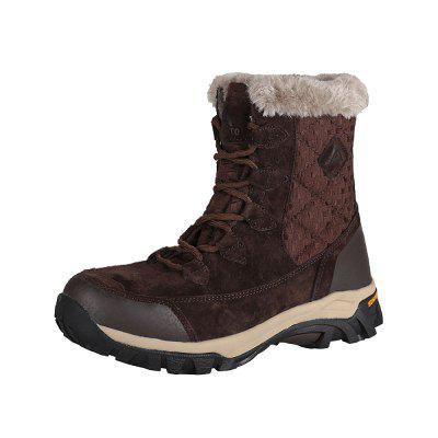 HUMTTO Women Winter Outdoor Genuine Leather Fur Plush High Cut Snow Boots