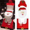 Santa Toilet Seat Cover Set Red Christmas Decorations Bathroom Set of 3 - RED