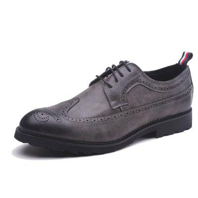 MUHUISEN Fashion Lace-up Men Casual Leather Comfortable Breathable Flat Shoes