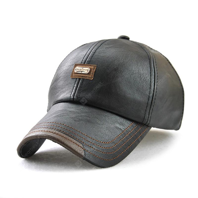 Men'S Autumn and Winter New Leather Fashion Simple Wild Baseball Cap