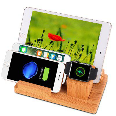 Cooho 4 USB Port Wood Charging Base Stand for Watch Holder