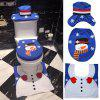 Christmas Snowman Toilet Seat Cover Happy Santa Closestool Decorations Rug Set - MULTI-B