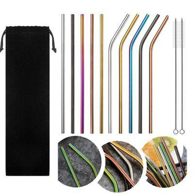 10pcs Stainless Steel Drinking Straws Multicolor Reusable
