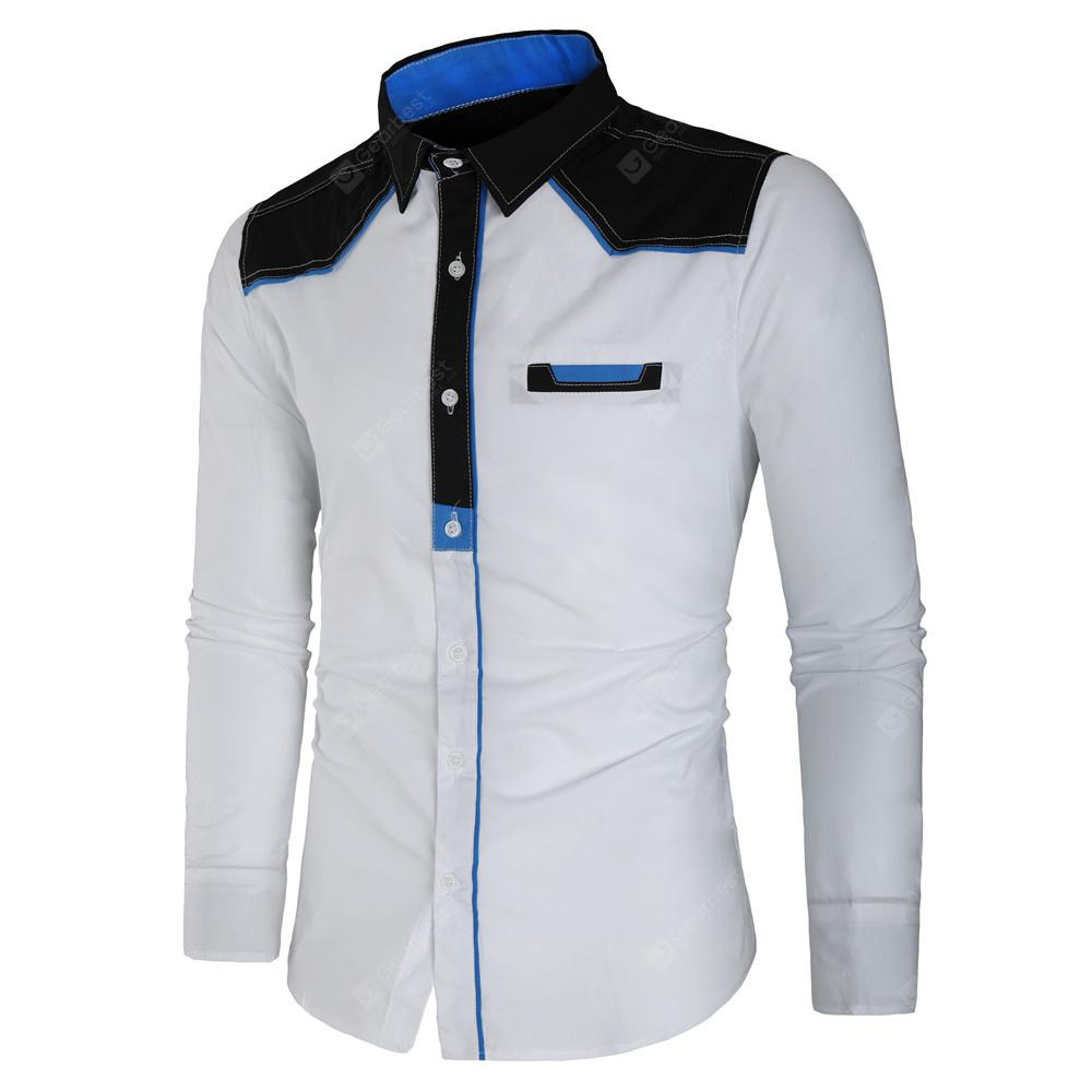 Mens Trend Contrast Color Stitching Casual Slim Wild Long Sleeved
