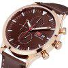 MINI FOCUS Men's Quartz Luxury Chronograph Leather Strap Military Sports Watch - BROWN
