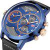 MINI FOCUS Dual Time Chronograph Men's Quartz Sports Analog Wrist Watch - BLUE