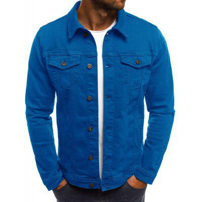 Solid Color Simple Denim Men's Casual Slim Short Jacket