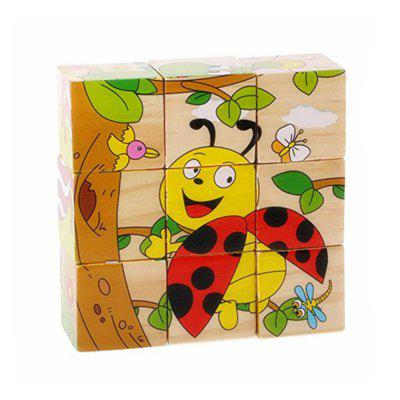 3D Cartoon Six Sides Wooden Puzzle Education Learning Tools Toy