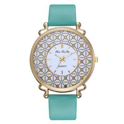Women PU Leather Quartz Watches Chinese Style Alloy Wristband Watch