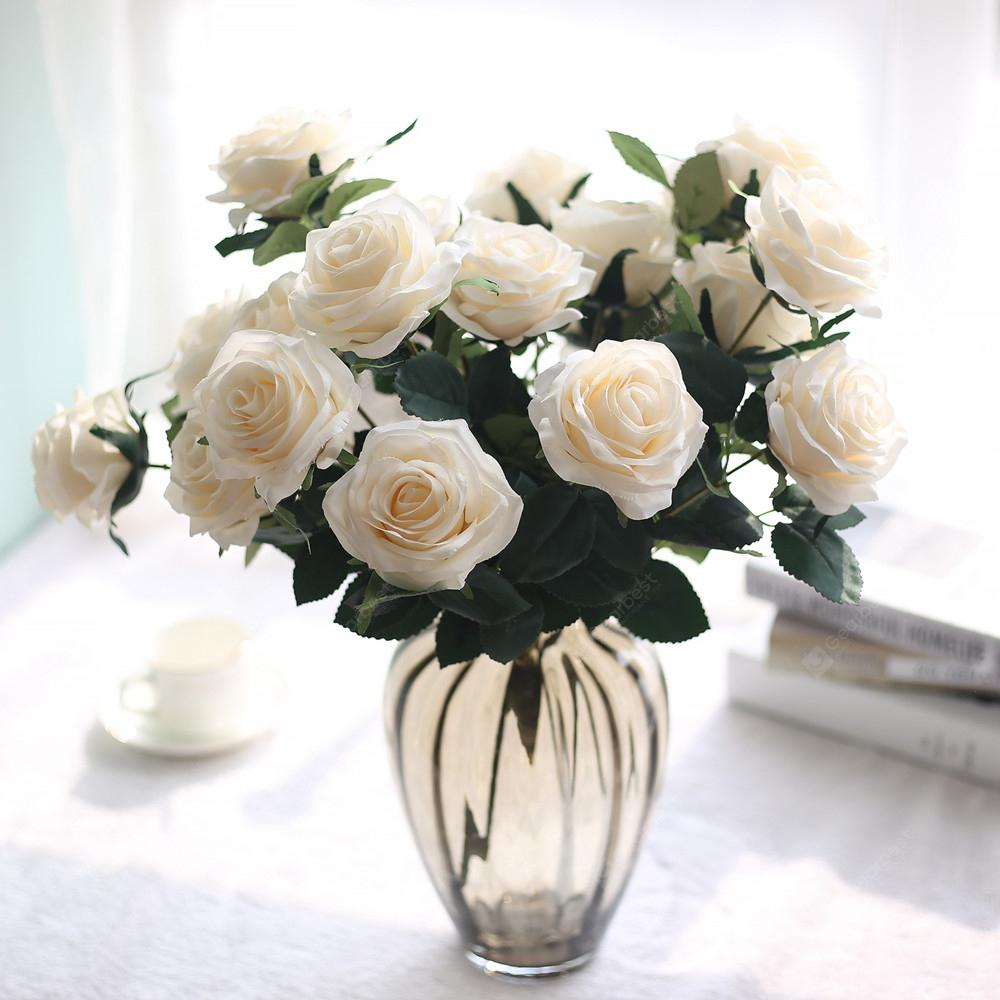 Artificial Flowers Fake Silk Rose Bouquet for Wedding Decoration