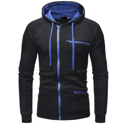 Men's Fashion Chest Zipper Long Sleeve Hooded Casual Cardigan Sweater