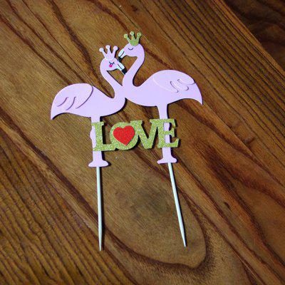 Birthday and Valentine'S Day Decoration Flamingo Cake Insert Card