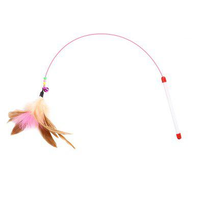 Wire Color Bell Feathers Funny Cat Stick