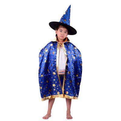 YEDUO Bambini Halloween Wizard Witch Cloak Cape Robe Hat Cap Costume Party