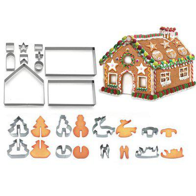 3D Christmas Gingerbread House Mold Cookie Cutter Set Gift Box Packaging 18PCs