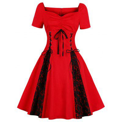V-Neck with Short Sleeves Draw String Lace-Up Bud Silk Joining Together Dress