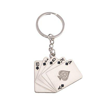Personality Straight Flush Playing Card Key Ring