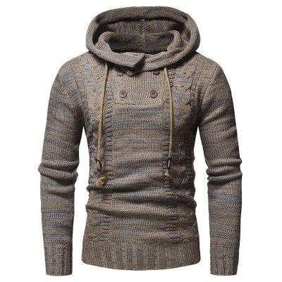 Men's Fashion Color Twist Double-breasted Hooded Slim Knit