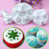 3PC Snowflake Fondant Cookie Cutter Cake Plunger Sugarcraft Mold - WHITE