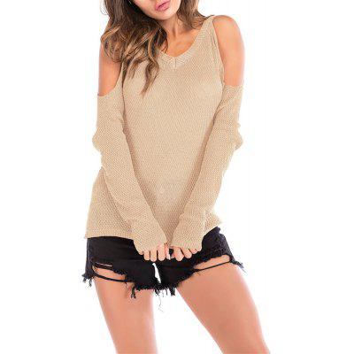 Women's Wild Off the Shouder Solid Color Pullover Knitwear Long Sleeve Sweater