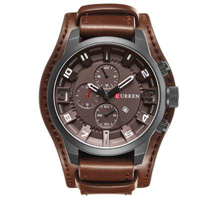 CURREN Men's Casual Quartz Leather Mechanical Pointer Multifunction Watch