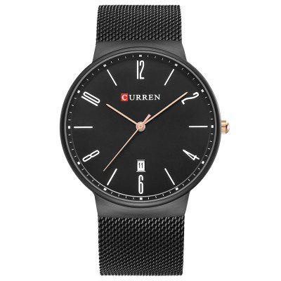 CURREN Men's Slim Calendar Watch Casual Net with Watch