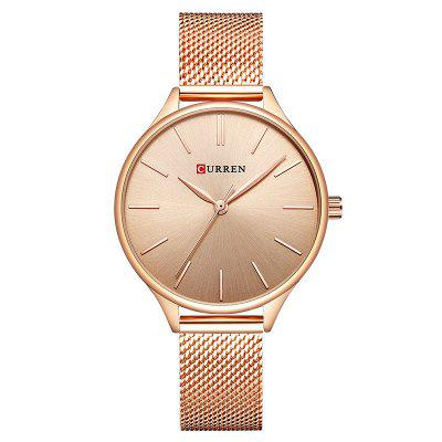 CURREN Women's Net with Casual Fashion Slim Quartz Watch