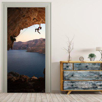 MailingArt 3D HD Canvas Print Door Wall Sticker Mural Home Decor Climber And Sky