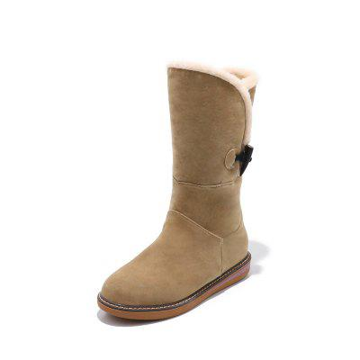Frosted Buckle Zipped Warm Comfortable Flat Heel Snow Boots