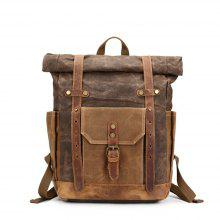 1e84a7bb34 9% OFF LOUIS JASON Fashion Crazy Horse Leather Canvas Bag Portable  Waterproof Backpack