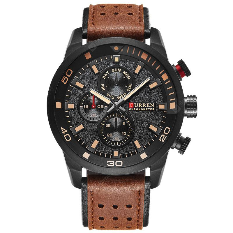 CURREN Men's Casual Three-Eye Business Belt Watch