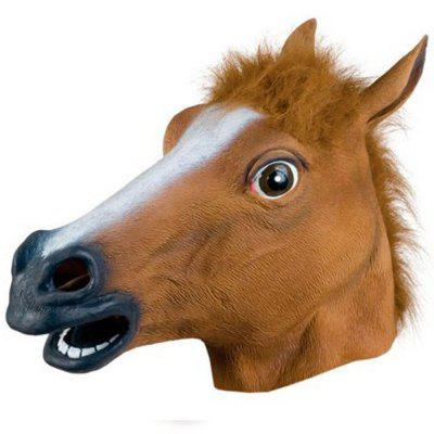 Full Face Halloween Horse Mask Head Latex Brown Costume Theater Prop Party