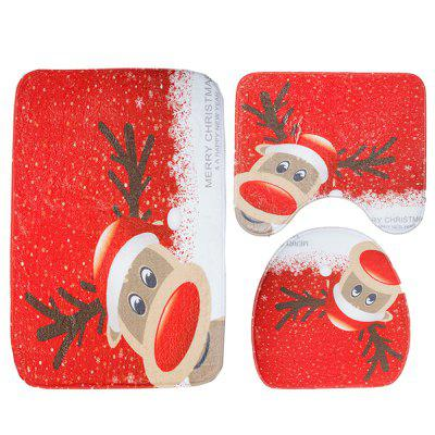 New Christmas Toilet Carpet Three-Piece Elk Pattern Bathroom Anti-Slip Mat