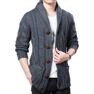 New Fashion Men Long Sleeve Spring Autumn Winter Solid Casual Sweater Coat