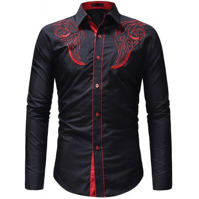 Men's Fashion Classic  Embroidery Casual Slim Long Sleeve Shirt
