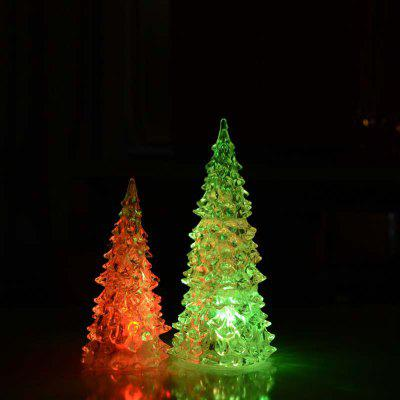 Colorful Crystal Acrylic Christmas Tree LED Night Light Changing Tower Lamp