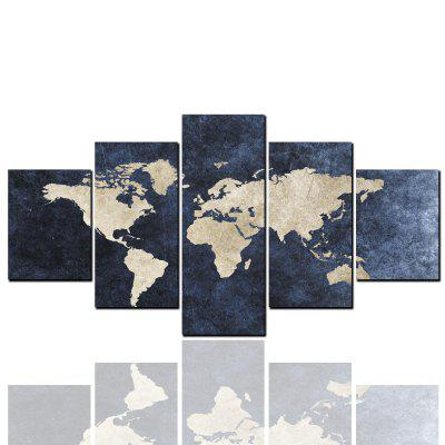 5 Pcs HD Inkjet Paints Abstract World Map Decorative Painting