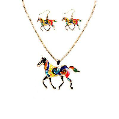 Fashion Drip Oil Rainbow Horse Jewelry Set Alloy Necklace Earrings