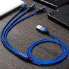Cable de carga trenzado de nylon 3 en 1 USB con interfaz Micro USB + 8 Pin + Tipo C - CADETBLUE