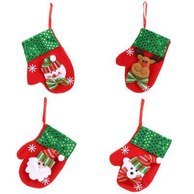4Pcs Christmas Cutlery Gloves Shape Silveware Holders Porckets Knifes Candy Bag