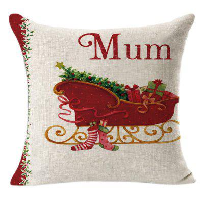 Christmas Linen Square Throw Flax Pillow Case Decorative Cushion