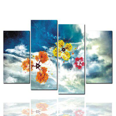 4 Pcs HD Inkjet Paints Abstract Snowflake Color Flower Decorative Painting