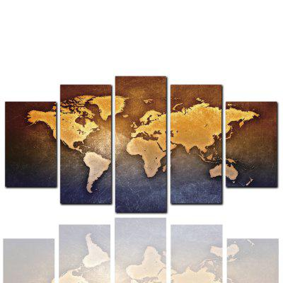5 Pcs HD Inkjet Paints World Map Decorative Painting